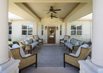 The entry porch at Pecan Ridge Memory Care