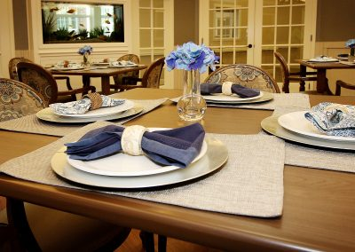 A table setting in the dining room at Pecan Ridge Memory Care